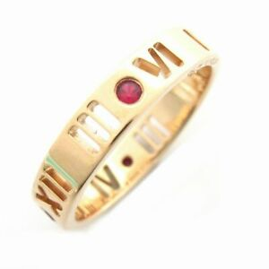 TIFFANY&CO Atlas 4P Ruby Ring bague #8 K18 750 Pink Gold Used