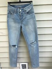american eagle STRETCH VINTAGE HI RISE Distressed BUTTON FLY SIZE 00 REG