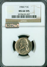 1984-P JEFFERSON NICKEL NGC MAC MS-66 PQ 5 FS 2ND FINEST GRADED .