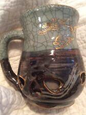 Gold Horse Somayaki Double-Wall Soma Ware Crackle Glaze Mug Vintage Japanese