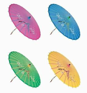 """Assortment or six (6) 30"""" Large Asian Silk Umbrella / Parasol"""