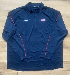 Nike Pro Elite USA Olympic Men's Half Zip Training Running Warm Up Top New 4XL
