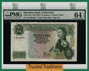 TT PK 32b ND (1967) MAURITIUS 25 RUPEES QUEEN ELIZABETH II PMG 64 EPQ CHOICE UNC
