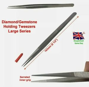 """L Tweezers Stainless Steel Tools 6.5"""" 63mm Long SUPERIOR QUALITY Precious Gems"""