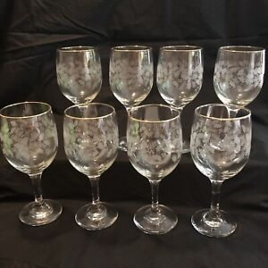 8 Vintage Arby's Libbey White Gold Bow Holly Glass Wine Goblet Holidays 1980's
