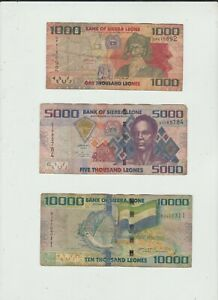 SIERRA  LEONE  THREE  NOTES  WELL  CIRCULATED