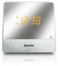 Philips Mirror Display Dual Alarm Clock FM/AM Radio AUX MP3 Link Buzzer Snooze