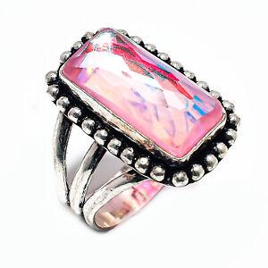 Multi Tourmaline Quartz Gemstone 925 Sterling Silver Jewelry Ring Size 7 4413