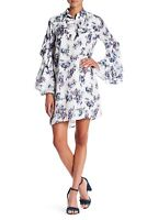 $146 TOV Pleated Bell Sleeve Floral Crew Neck Dress Ivory Size 42 US 8