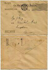 GB Isla de Man 1934 oficial paquete postal devuelto Envolvente 162X a George King