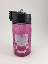 """Hello Kitty Plastic Water Bottle Pink And Black With Pop Up Straw 6"""""""