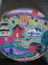 Franklin Mint Spring Fair Amer Folk Art Hot Air Balloon Carousel Ltd Ed Plate