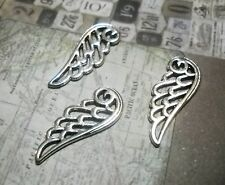 50 Angel Wing Charms Pendants Filigree Antiqued Silver BULK