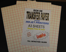 Inkjet Iron On T Shirt Transfer Paper A3 20pk (For Light Fabrics)