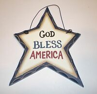 Primitive Carved look StarGOD BLESS AMERICA Country Home decor Wall or ornament