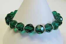 Bracelet Made With Swarovski Emerald, Solid Sterling Silver & Pewter Pear Clasp