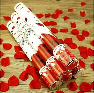 Rose Party Popper Confetti Cannons with Red Rose Petals Shooter Pack 2/4 UK GIFT