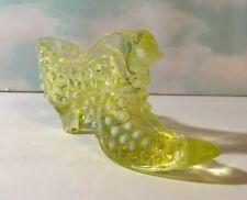 Vintage Opalescent Hobnail Cat Slipper Yellow Vaseline Unmarked Pre 73' Fenton
