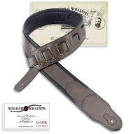 Walker & Williams G-108 Dark Walnut PaddedGuitar Strap with Glove Leather Back