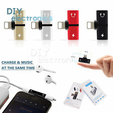 2 in1 Dual for Lightning Adapter Charging Audio Splitter iPhone 7 Plus 8 X Us