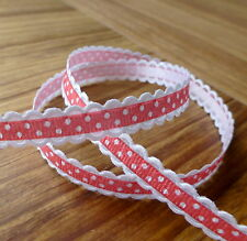 5 meters grosgrain red spotty ribbon with white scalloped edge 10 mm