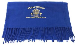 TEAM TRUMP EMBROIDERED CREST Blue w/ Yellow Soft Scarf NEW RARE 72x12 NICE GIFT