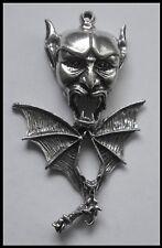 PEWTER CHARM #1229 DEVIL HEAD & BAT 1 BAIL (63mm x 39mm) LUCIFER