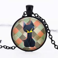 Origami black cat photo dome Black Cabochon Glass Necklace chain Pendant