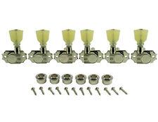Kluson Revolution Tuners - 3x3 No Collar Pearloid button - Nickel KEDPNC-3801N
