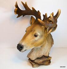 Resin Deer Head Figurine Bust Hunting Trophy Men Cave Decor