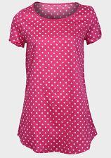 Mujer Top Diseño de Lunares Manga Corta Cuello Redondo Algodón Verano Camisa