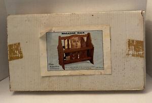 Vintage New Old Stock Magazine Rack Wood New In Box Tulip Design MCM