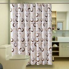 Waterproof Shower Curtain Polyester Fabric Bath Curtains Mould Proof Hooks
