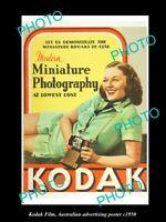OLD 8x6 HISTORIC PHOTO OF KODAK FILM & CAMERA ADVERTISING POSTER c1950 2