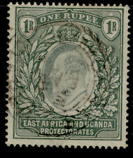 EAST AFRICA and UGANDA EDVII SG9, 1r green, USED. Cat £65.