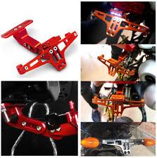 Durable Motorcycle Adjustable License Bracket Number Plate Holder W/ LED Light