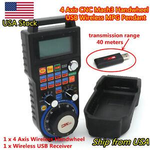【US】4 Axis Wireless Mach3 Handwheel MPG Pendant CNC Router Remote Control WHB04B
