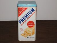 "VINTAGE KITCHEN 1969  9 1/2"" HIGH NABISCO SALTINE CRACKERS TIN CAN *EMPTY*"