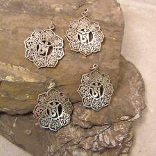 Lot of 4 Tibetan Nepal Handmade OM Pendant Unisex Brass Mixed Metal