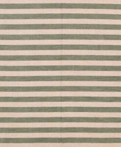 Striped Reversible Modern Handmade Green/ Ivory Oriental Area Rug 8'x10' Carpet