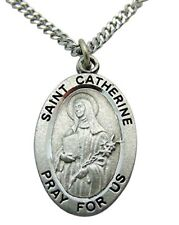 Westman Works St Catherine Solid Pewter Saint Medal 3/4 Inch with Stainless Stee