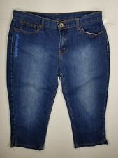 Christian Audigier Cropped Capri Jeans Womens Sz 29 Embroidered Blue Multicolor