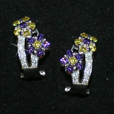 Created Stones Amethyst Citrine Flower Earrings White 14k Gold over 925 SS Omega