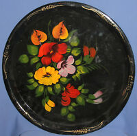 VINTAGE RUSSIAN HAND PAINTED FLORAL TOLE SERVING TRAY