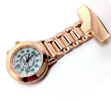 N07 High Quality Nurse Watch Carer Fob Broch Light Function Dial Rose Gold Strap