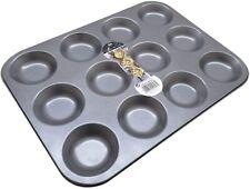 12 Cup Tart Shallow Bun Carbon Steel Non-Stick Cake Tin Baking Tray Mince Pie