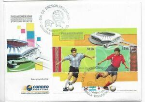 ARGENTINA 2002 FDC PHILAKOREA EXHIBITION SOUVENIR SHEET STADIUM SOCCER PLAYERS