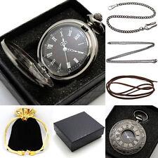 Retro Steampunk Balck Hollow Men Women Pocket Watch Set Chain +Xmas Gift Box+Bag