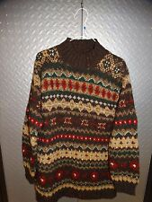 Womens Ralph Lauren Hand Knit Wool Sweater ~ nordic ski ~ southwest Small
