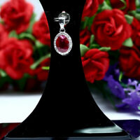 NATURAL 6 X 8 mm. OVAL RED RUBY & WHITE CZ PENDANT 925 STERLING SILVER